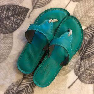 Vitellos | turquoise leather sandal